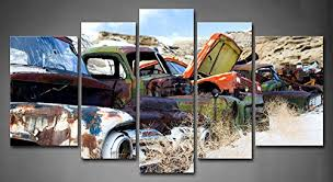 5 panel vintage car wall art old classic and vintage cars at rural junkyard in winter  on vintage wall art canvas with wall art best collection vintage car wall art kids wall art decor