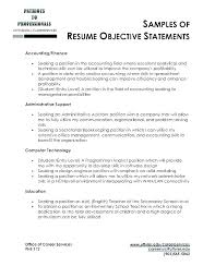 Resume Objectives Examples Impressive Sample Of Objective In Resume In General Resume With Objectives