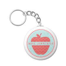 apple keychain. chevron apple quatrefoil teacher keychain
