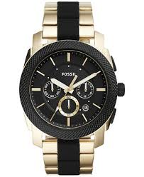 fossil fossil macy s fossil men s chronograph machine gold tone stainless steel black silicone bracelet watch 45mm fs5261