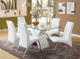 com furniture of america rivendale 7 piece modern dining table set with 12mm tempered glass top white finish kitchen dining