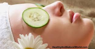 Image result for woman with cucumber over her eyes