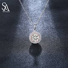 <b>SILVERAGE Real 925</b> Sterling Silver White Zircon Pendant ...