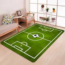 large green football soccer pitch rug kids play floor carpet bedroom rugs soft
