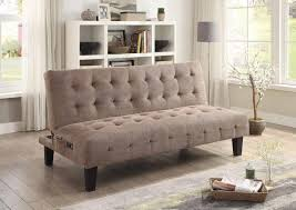 LIVING ROOM  SOFA BEDS  Taupe Sofa Bed With USB And Power Ports
