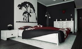 interior modern red black and white bedroom decoration using with bedroom wall painting designs