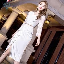 <b>2019 CUERLY 2019 Summer</b> White Lace Full Sleeve Tight Waist ...