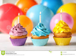 Delicious Birthday Cupcakes With Candles Stock Image Image Of