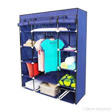 2018 new portable closet wardrobe clothes rack storage organizer with shelf blue 53 from hongxinlin21 37 68 dhgate com