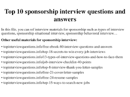 Scholarship Interview Questions Top 10 Sponsorship Interview Questions And Answers
