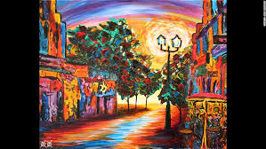 cafe view i love to walk down old city streets photos painting allows blind artist
