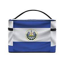 amazon ei salvador flag portable travel makeup cosmetic bags toiletry organizer multifunction case beauty