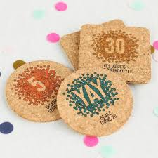Custom cork coasters Monogram Personalized Confetti Birthday Cork Coasters Beaucoup Personalized Coasters Custom Cork Coasters Cork Personalized