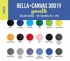 Basic Color Chart For Kids Bella Canvas 3001y Youth Color Chart Mockup Kids Shirt Color Showcase Child Tshirt Color Guide With Circle Swatches