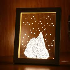 kcasa fl 725 3d photo frame illuminative led night light wooden snow mounn desktop decorative usb l for bedroom art decor gifts red cod