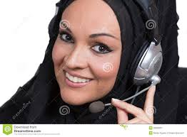 arabic w working as a customer service representative stock arabic w working as a customer service representative stock image