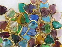 exquisite colorful poured glass heart charms vintage necklace