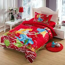 the little mermaid bedding set twin size kids girls toddler cartoon red quilt duvet cover bed