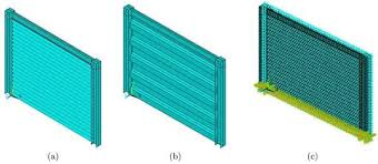 figure 7 the schematic corrugated steel shear wall with a sinusoidal and b tzoidal waves c finite element model