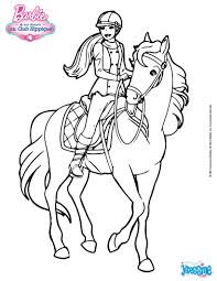 Coloriages Barbie Sur Son Cheval Fr Hellokids Com