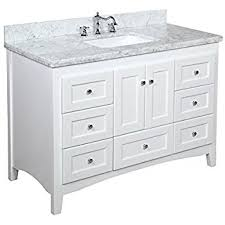bathroom vanitiy. Kitchen Bath Collection KBC388WTCARR Abbey Bathroom Vanity With Marble Countertop, Cabinet Soft Close Function Vanitiy O