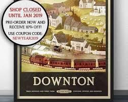 downton abbey inspired travel poster vine retro style