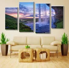4 pieces set unframed modular waterfall wall art painting iceland sunset contemporary art canvas prints wall on wall art 4 piece set with 4 pieces set unframed modular waterfall wall art painting iceland