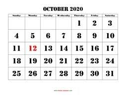 October 2020 Printable Calendar Free Download Monthly