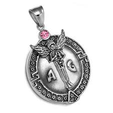 guardian archangel michael medallion star of david accents amulet pink crystal pendant leather necklace