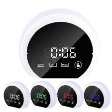 mirror surface digital alarm clock colorful led night light with dual usb output port alarm clocks