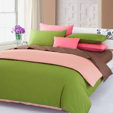 green pink brown 3pieces color solid duvet covers