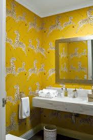 Diane Bergeron Design Diane Bergeron Bathroom Scalamandre Zebra Wallpaper Yellow 1