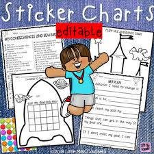 Editable Sticker Charts For Early Childhood Behavior Consequences And Rewards