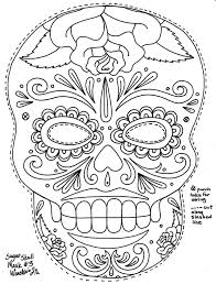 Small Picture Day Of The Dead Masks Coloring Pages Kids Art Journal