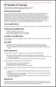 Cv For Teacher Pe Teacher Cv Sample Myperfectcv