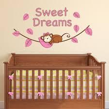 girl sweet dreams monkey wall decal