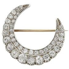victorian 9ct gold silver crescent moon diamond brooch for
