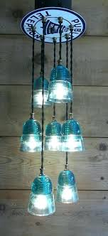 insulator pendant light glass insulator pendant light fixture public telephone steampunk 7 green lights insulator pendant