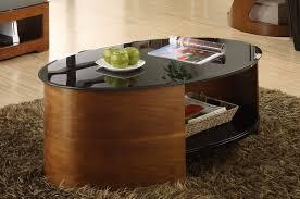 walnut black glass coffee table 2