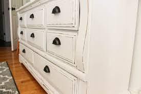 white distressed dresser makeover so