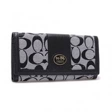 Coach Legacy Slim Envelope in Signature Large Grey Wallets BLK