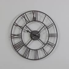 rustic black skeleton wall clock with roman numerals