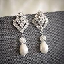 bridal earrings crystal wedding earrings swarovski teardrop chandelier pearl earrings