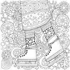 冬のスケート靴をはいた女の子冬の雪大人ぬりえ本ベクターの手描き