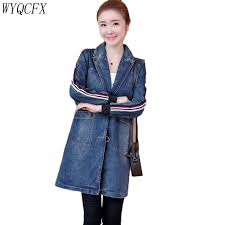 2019 New Fashion Long Denim Coat Women Spring <b>Autumn Large</b> ...