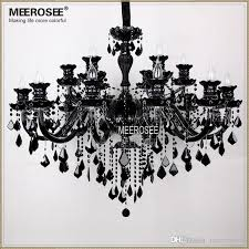 luxury large black glass chandelier light premium quality crystal res lamp for pendant with 18 arms md1003 paper chandelier linear chandelier from