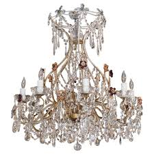antique italian crystal and beaded iron 8 light chandelier