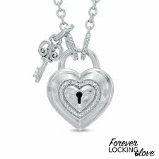 forever locking love diamond accent heart shaped lock necklace with key charm in sterling