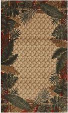 tropical area rugs. 5X8 Area Rug Coastal Tropical Beach Palm Tree Rain Forest Sand Beige Red Green Rugs