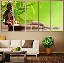 5 panel printed canvas painting modern wall art buddha statue lotus flower and stone wall pictures for living room unframed in painting calligraphy from  on lotus panel wall art with 5 panel printed canvas painting modern wall art buddha statue lotus